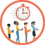 Circle with orange outline around vector illustration of wooshing stopwatch above four children carrying lunch trays in a line.