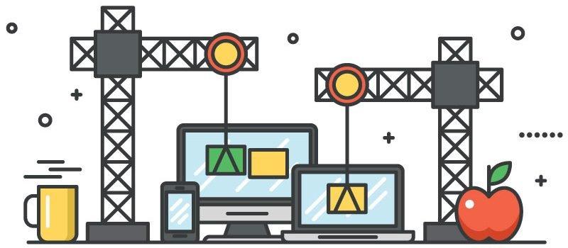 cartoon construction of technology.