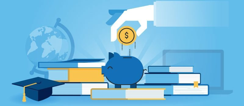 Hand dropping money into piggy bank atop books artwork