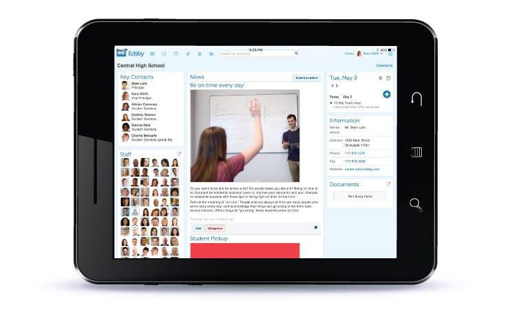 iPad screenshot of Edsby's newsfeed.