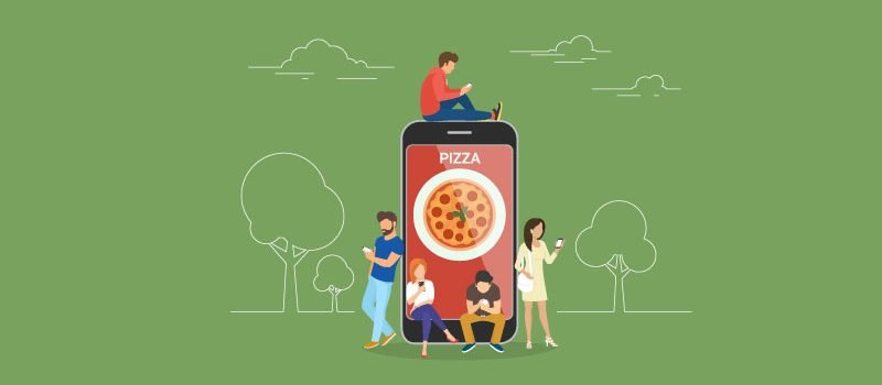 Vector of large cell phone with pizza image on it, with young people using phones all around cell phone.