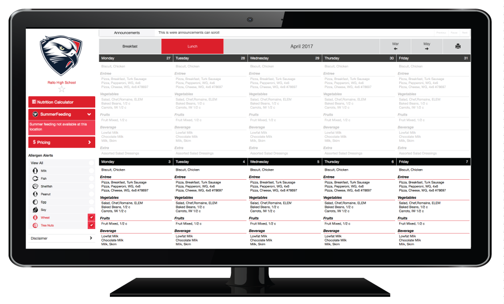 Screenshot of EZSchoolLunch customized menus.