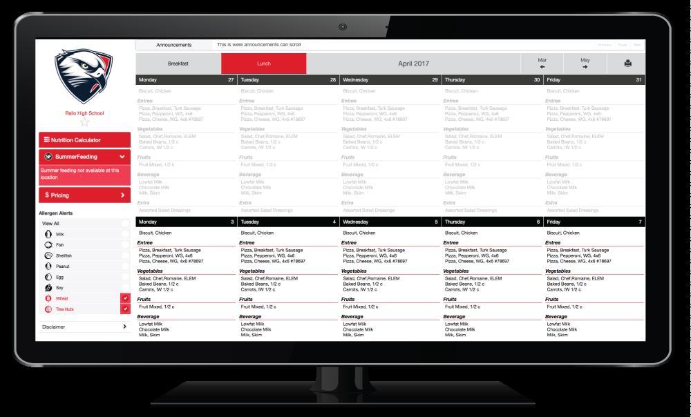 Screenshot of EZSchoolLunch customized menus.