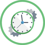 Green circle with vector illustration icon inside showing a clock on top of gears.