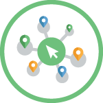Green circle with vector illustration icon inside showing a green circle with a white arrow inside, and shadowed lines coming off of the green circle and connecting to various-sized location pin points.