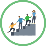Green circle with vector illustration icon inside showing a team pulling one another to the top of a set of stairs.