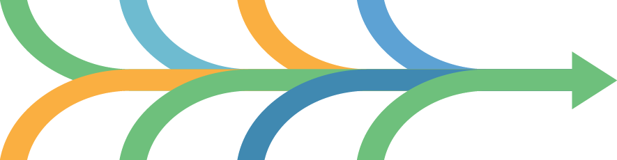 multiple arrows of different colors converging into a single green arrow, all going left to right