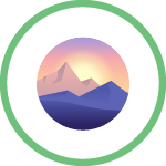 Green circle with vector illustration inside showing mountains with a sunrise behind it in pinks and yellows and purples.