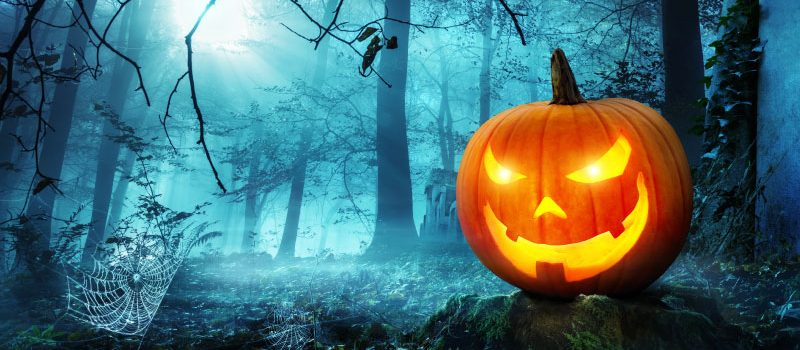 Blue-colored woods with jack-o-lantern in foreground.