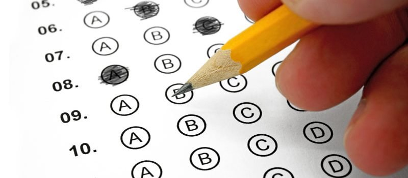 Closeup of scantron multiple choice test.