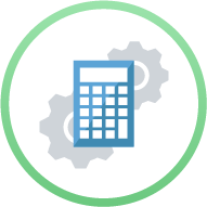 Icon: Calculator with gears behind it - Activities Accounting and Payment Processing