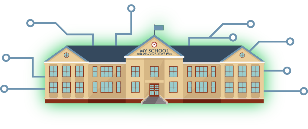 web rendering: school building with circuits extending from it concept