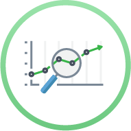 Icon - line graph with magnifying glass over it - Business Intelligence and Data Analytics