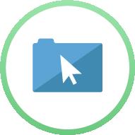 Icon: Folder with cursor arrow on it - Digital File Management