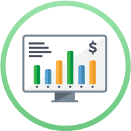 Icon - screen with charts, graphs, and money sign - School Financial Management / ERP Systems