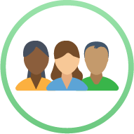 Icon: silhouettes of three people - Human Resources Management