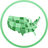 Icon: Map of U.S. with each state a different shade of green - State-Specific Reporting