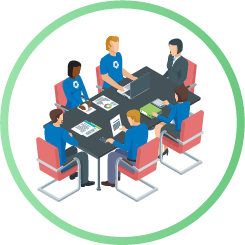 Illustration concept of Harris employees sitting at table, with client at head of table and Harris employees taking notes and looking at graphs and charts..