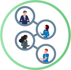 Illustration concept of school officials and Harris employees connected in circles back and forth between the two teams.