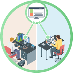 Illustration concept of two people at separate desks working on same file