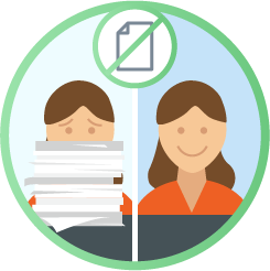Illustration concept side-by-side of same woman, left side with stack of paper in front of her, right side smiling with no paper