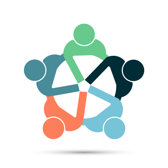 vector icon of circle of people from different departments with hands into center of circle