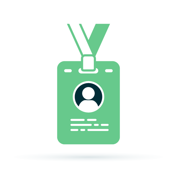 vector illustration of a green ID badge