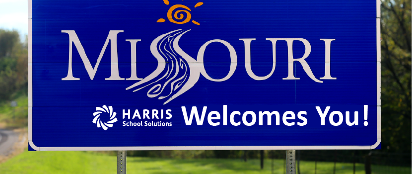 "Missouri Welcome sign with HSS logo next to ""Welcomes You"" under ""Missouri"""