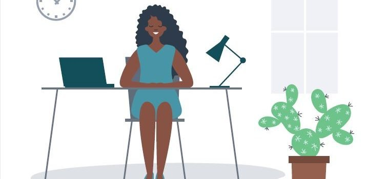 Illustration of woman sitting at home-office desk