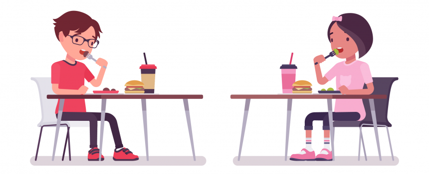cartoon boy and girl eating food at desks, socially distant