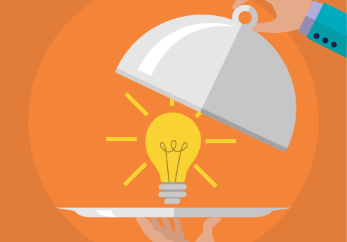 lightbulb on serving tray - orange background - vector