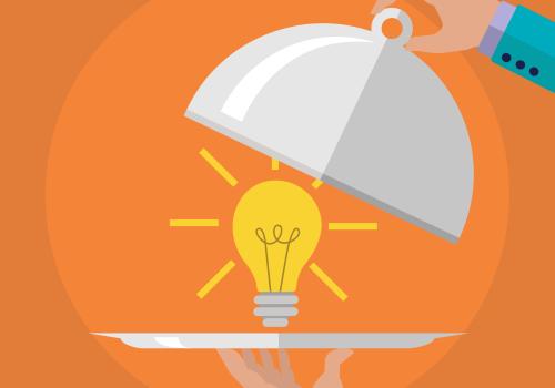 lightbulb on serving tray - orange background - vector