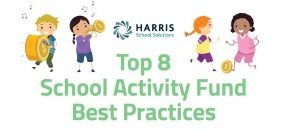 Kids enjoying school activities like soccer and band but with coins in place of instruments and equipment.
