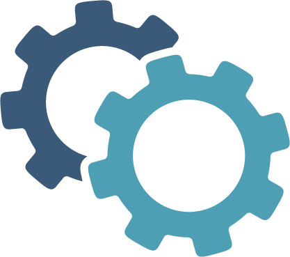 gears icon in two shades of blue