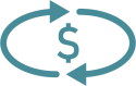 money icon with circling arrows around it - blue