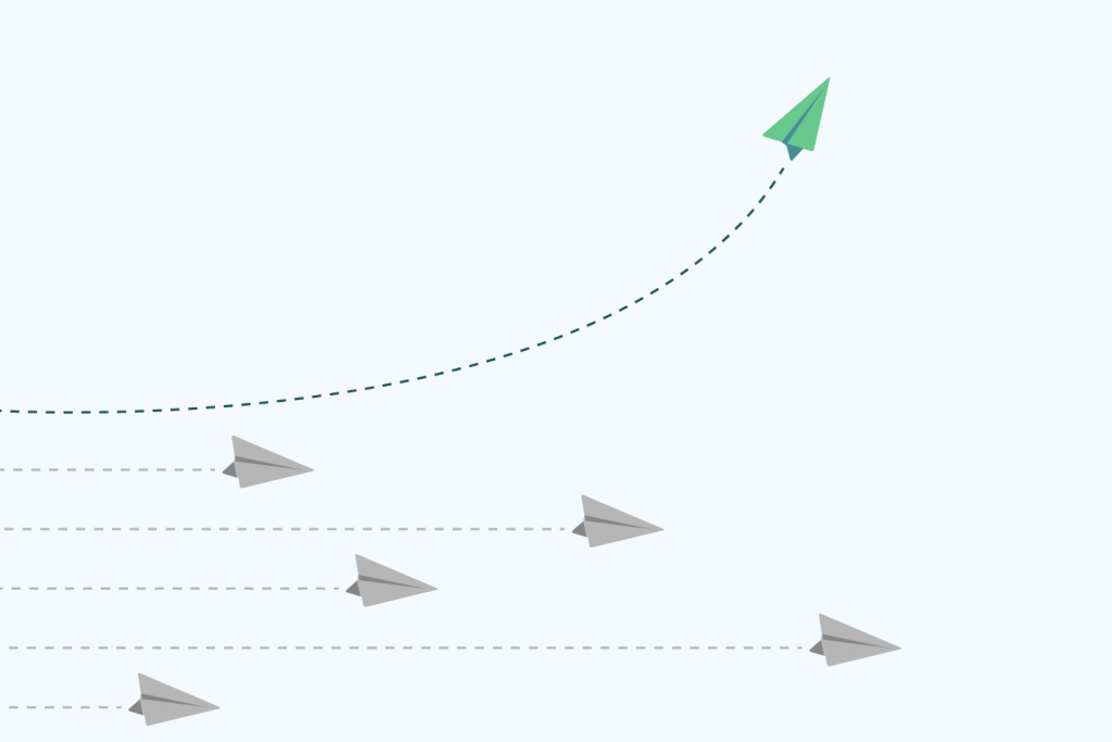 "flat vector ""different"" concept - 5 gray paper planes flight straight left to right but one green and blue plane taking off and flying higher"