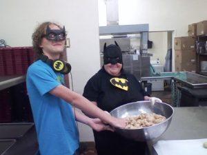 Lunch professional dressed as Batman.
