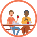 Orange circle with vector illustration icon inside showing two students sitting at a lunch table with trays and food in front of them.