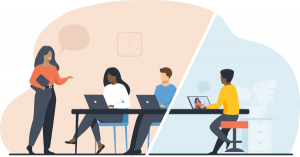 Vector illustration of woman teaching administrators seated at computers, with one learning remotely.