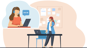 Vector illustration of woman at school on cell phone in front of computer while support person on the other end of the line assists.