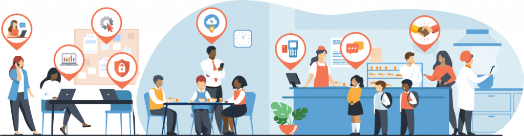 Cross section vector illustration of school cafeteria and back office room, with icons overlaid throughout the image.